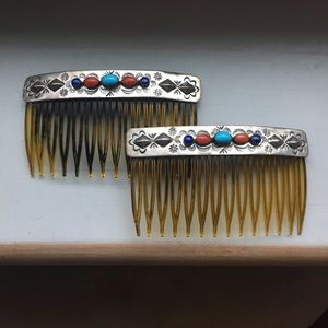 Jewelry - Vintage, turquoise, lapis and coral, hair combs